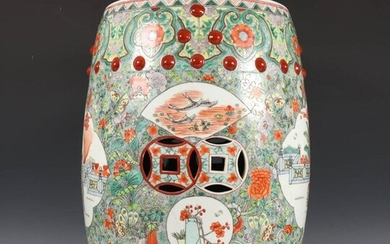 China, porcelain barrel shaped garden chair, possibly early...