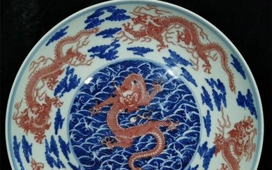 Chinese Blue And Red Porcelain Plate