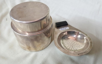 Christofle Silver Plated Tea Strainer and Lidded Pot (2)
