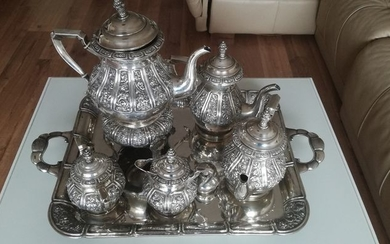 Coffee and tea service (6) - .915 silver - Spain - Second half 20th century