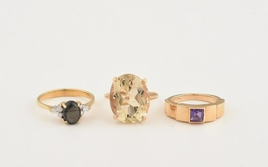 Collection of Three Multi-Stone, Yellow Gold Rings.
