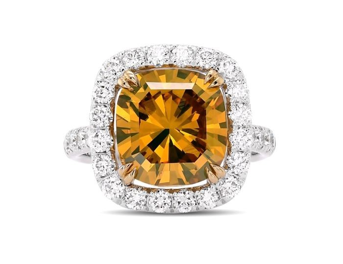 D2U - 18 kt. White gold - Ring - 5.17 ct Fancy Deep Brownish Orange-Yellow - Diamond
