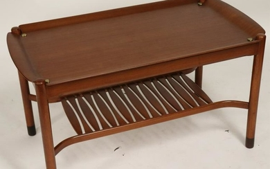 Danish Modern Brass Mounted Beechwood Coffee Table