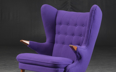 Danish furniture producer, lounge chair / wing chair in teak and wool fabric.