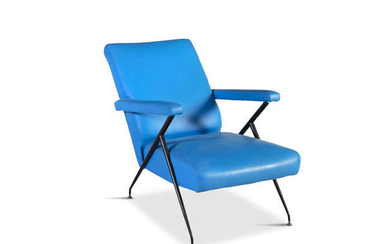 Description LOUNGE CHAIR A blue upholstered 1960s Italian reclining...
