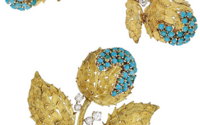 Diamond, Turquoise, Gold Jewelry Suite, Kurt Gutmann The brooch...
