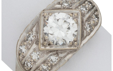 Diamond, White Gold Ring The ring features a European-cut...