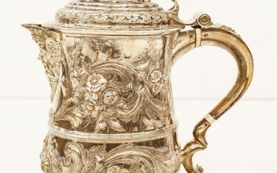 English George II Silver Repousse Tankard by Fuller