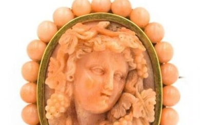 Estate Victorian Yellow Gold and Carved Coral Brooch