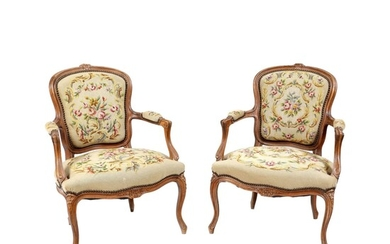 European Workshop, Pair of Louis XV manner armchairs with floral tapestry in Aubusson manner