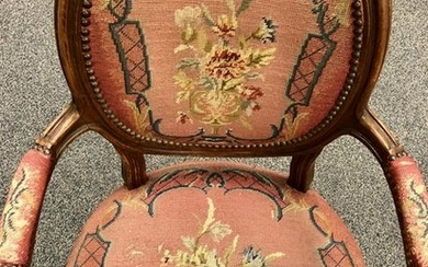 FRENCH NEEDLEPOINT UPHOLSTERED ARM CHAIR