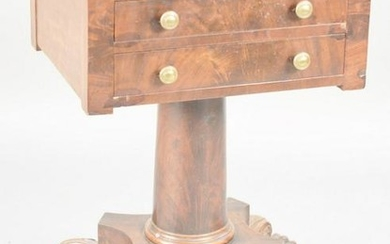 Federal mahogany two drawer work table on paw feet. ht.