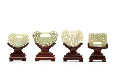 Four Chinese Hardstone Carvings in Stands