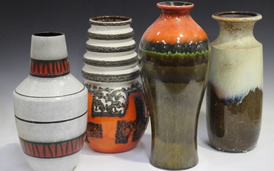 Fourteen large West German pottery floor vases, various decoration and factories, including Scheuric