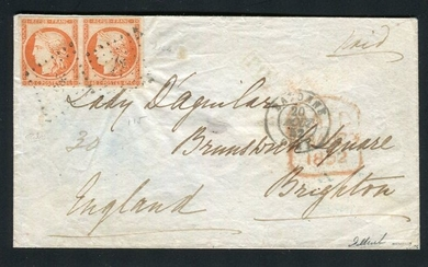 France 1852 - Letter from Bayonne bound for Brighton with a pair of dark orange No. 5 stamps