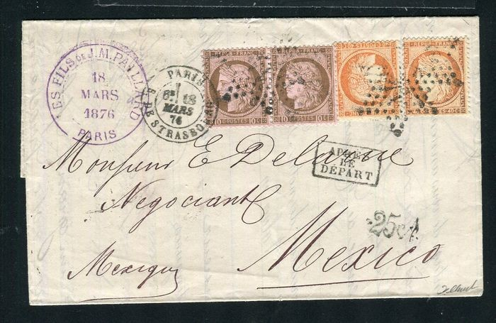 France 1876 - Rare letter from Paris bound for Mexico with the No. 38 and 54 stamps
