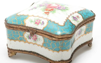 French Hand-Painted Porcelain Floral Motif Box