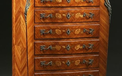 French Louis XV Style Marquetry Inlaid Mahogany Marble