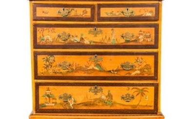 George III Style Chinoiserie Painted Chest , 19 C.