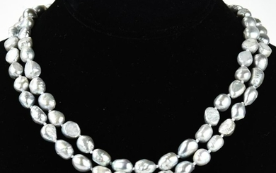 Hand Knotted Silver Tone Baroque Pearl Necklaces
