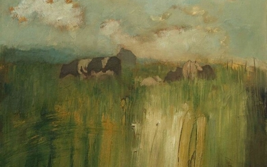 """Helen Tabor (British, B.1960) """"Cows, Midsummer"""", oil on canvas, signed lower left, artist label to"""