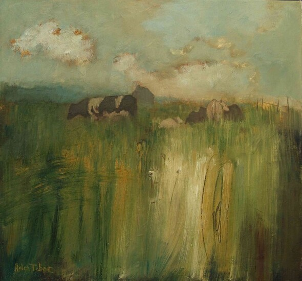 "Helen Tabor (British, B.1960) ""Cows, Midsummer"", oil on canvas, signed lower left, artist label to"