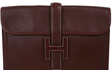 Hermes Burgundy Leather Clutch