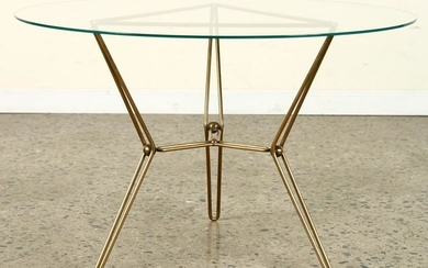 ITALIAN BRASS GLASS COFFEE TABLE CIRCA 1970