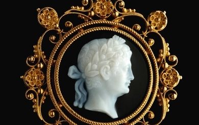 ITALIAN, FIRST HALF 19TH CENTURY | CAMEO WITH AN EMPEROR, POSSIBLY CLAUDIUS (10 BC - 54 AD)