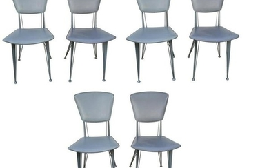 Italian Industrial Metal with Leather Chairs, Set of