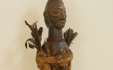 Janus figure - Feathers, Wood - Yaka - DR Congo