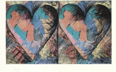 Jim Dine: Double Hearts. Signed Jim Dine 1982, 100/100. Lithograph in colours. Sheet size 44×45 cm. Unframed.