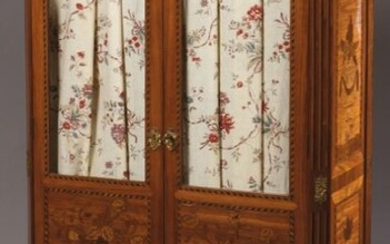 LIBRARY in marquetry of vases of flowers, rosewood...