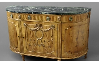 LOUIS XVI STYLE PINE DEMI-LUNE MARBLE TOP COMMODE bow fronte...