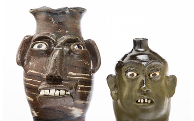 Lanier Meaders (1917-1998), Two Face Jugs (late 20th century)