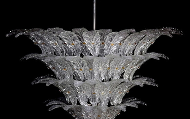 Large Chandelier Attributed to Barovier & Toso, Murano