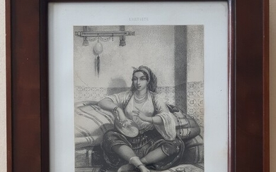 Léopold de Moulignon, after: An odalisque, c. 1865. Signed in the print. In mahogany frame. Frame 37.5×32.5 cm. 27.5×22.5 cm.