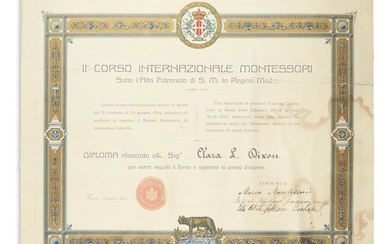 MONTESSORI, MARIA. Two items: Partly printed Document Signed * Montessori. The Montessori Method. Signed and Inscribed.