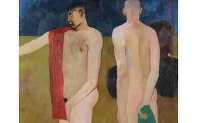 Manner of Keith Vaughan - Two nude males, Modern