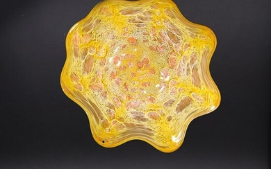 Mid-Century Modern Art Glass Earth Form Oranges Dish