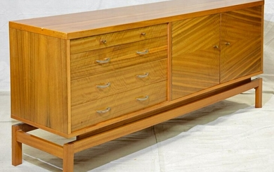 Mid Century Modern Sideboard with Striped Wood Doors