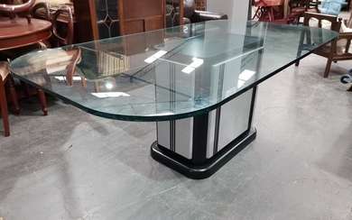 Modern Single Pedestal Dining Table with Large Glass Top
