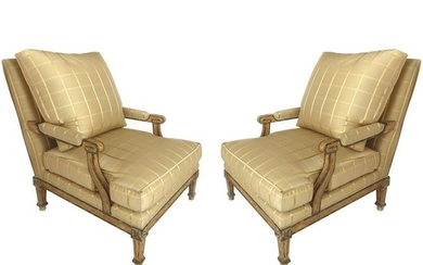 Nancy Corzine Neoclassical Fauteuil Armchairs with Silk