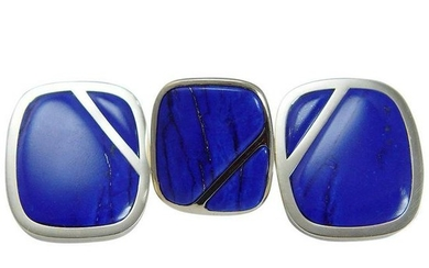 Natural Royal Blue Lapis Lazuli Ring Earrings Set 18K