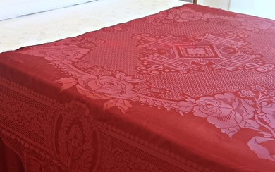 Natural silk bedspread, flowers on a red background, fringes - 235 x 215 cm - Silk - 20th century