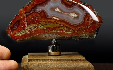 Nice Morocco Agate on wood pedestal Geode - 140×80×60 mm - 686 g