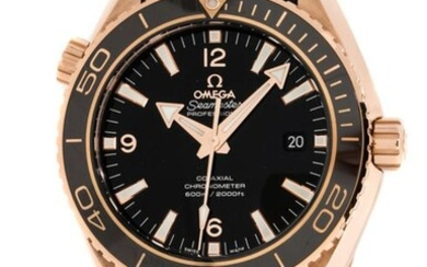 Omega - Seamaster Planet Ocean 600M 45.5 Co-Axial Red Gold Black Dial Black Alligator Strap - 232.63.46.21.01.001 - Unisex - 2020