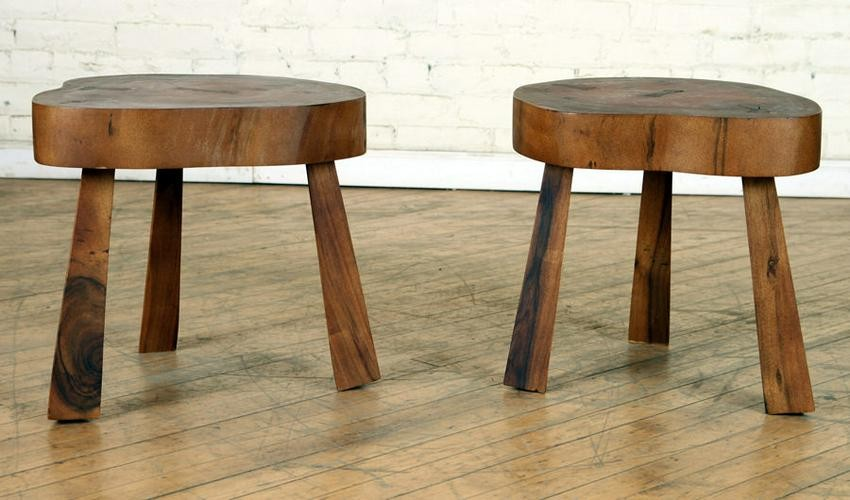 PAIR FREE FORM WOOD END TABLES ANGULAR LEGS
