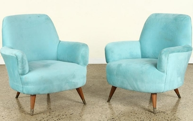 PAIR ITALIAN UPHOLSTERED LOUNGE CHAIRS C.1960