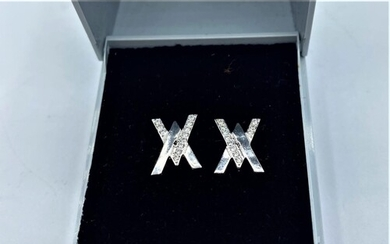 PAIR OF 18CT WHITE GOLD DIAMOND SET STUD EARRINGS, WEIGHT 3....